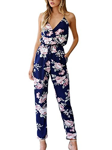 VANCOL+Women%27s+Spaghetti+Strap+V-Neck+Floral+Print+Cross+Backless+Blue+Pants+Summer+Jumpsuits+Rompers+%28+L%29