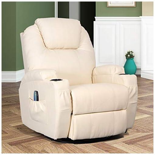 Living Room Esright Massage Recliner Chair Heated Composite Material Ergonomic Lounge 360 Degree Swivel (Cream)