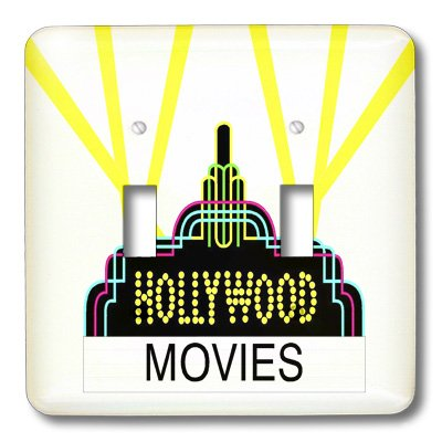 Hollywood Switchplate - 3dRose lsp_43847_2 Fun Hollywood Movie Symbol Double Toggle Switch