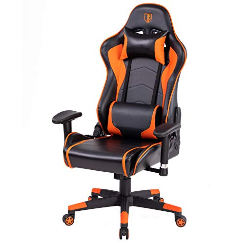 Incbruce Gaming Chair with Adjustable High Back, Video Game Racing Gamer Chair Ergonomic Swivel Executive Computer Chair with Headrest and Lumbar Support, Orange and Black