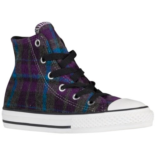Converse Girl's Chuck Taylor All Star Plaid HI Allium Purple/Cyan Space 10.5 M