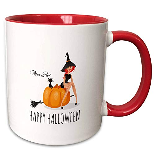3dRose Alexis Design - Holidays Halloween - Pretty witch sits on a pumpkin. Black cat. Happy Halloween, meow, boo - 15oz Two-Tone Red Mug (mug_299467_10)]()