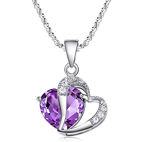 Fashion Crystal Necklace Purple Heart Shape Rhinestone Charm Pendant Necklace Charm Chain Jewelry Gift by SamGreatWorld