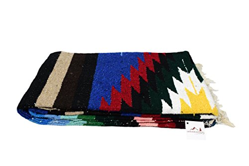 (Open Road Goods Mexican Yoga Blanket, Navajo Aztec Diamond XL Thick Serape with Stripes-Blue)