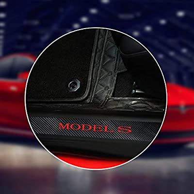 Black /& Red Combination Color CoolKo Newest and Improved Car Door Sills Protection Kit Carbon Fiber Stickers for Tesla Model S