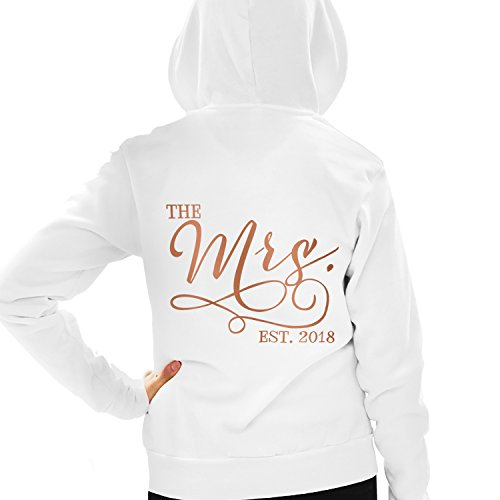 RhinestoneSash The Mrs. EST. 2018 Rose Gold Foil Bride Hoodie - Engagement & Wedding Hoodie - Medium White by RhinestoneSash