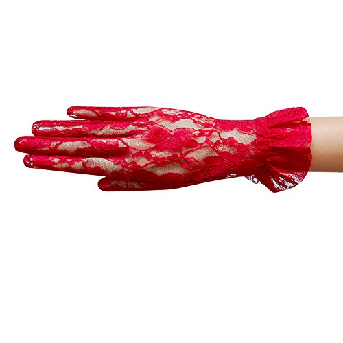 (ZaZa Bridal Flower Pattern Women's Lace Gloves with Ruffle Wrist Length-Red)