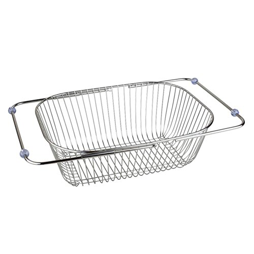 Adjustable Stainless Steel Drain Basket Drain Rack with Non-