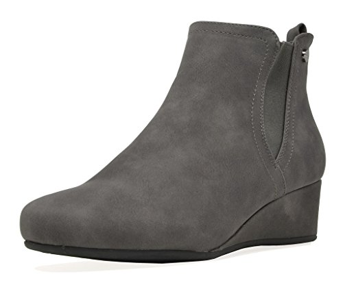 DREAM PAIRS Women's New Zoie Grey Low Wedge Heel Ankle Boots