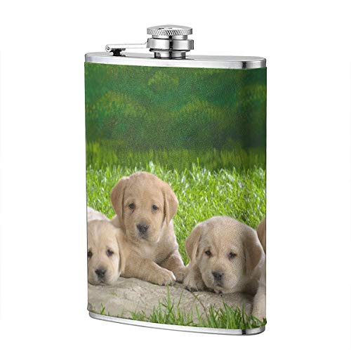 Kjhdgkshdd Dog Stainless Steel Flagon 8 OZ-The Exterior is Made of The Best High-Grade PU Leather, Full Printing, Personality, is The Best Gift for Men. -