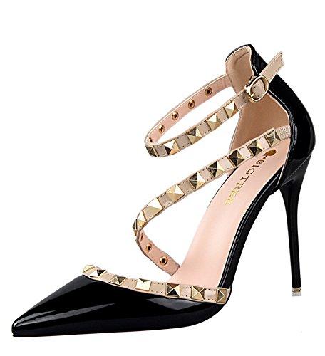 Noir Pointed High Minetom Rivet Casual Toe Boucle Talons Heels Hauts Fête Chaussures Pumps Été Filles Escarpins Rotation Femme Stiletto 7wWawUAqY