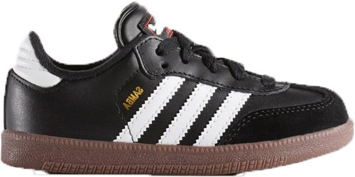 - adidas Samba Classic Leather Soccer Shoe (Toddler/Little Kid/Big Kid),Black/Running White,6 M US Big Kid