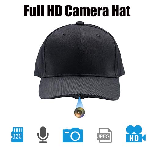 ViView Video Camera Hat Cap Recording HD Video Photo and Audio (32GB TF Card Not Included) - Fun for Outdoor Sports Shooting Hiking Fishing Teaching Demo Play with Kids & Pets (Baseball Cap Spy Camera)