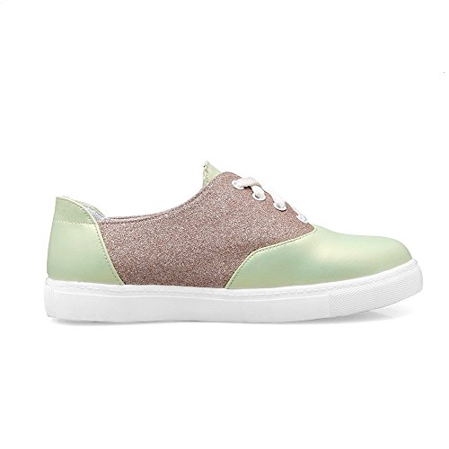 Low up Blend Green Women's Pumps Shoes Materials Heels Toe WeiPoot Lace Round 0qSa14w