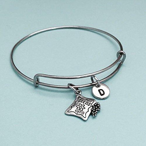 Seeds packet bangle, seeds packet charm bracelet, expandable bangle, charm bangle, personalized bracelet, initial bracelet, ()