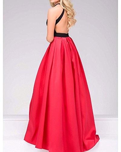 Abendkleid Elegantes Satin Kleid A Linie Langes Rueckenfrei Mädchen Rot mit Halter Taschen q8p8d