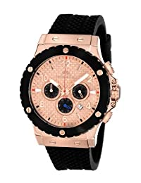 Porsamo Bleu Marcus Silicone Rose Tone & Black Men's Watch 652DMAR