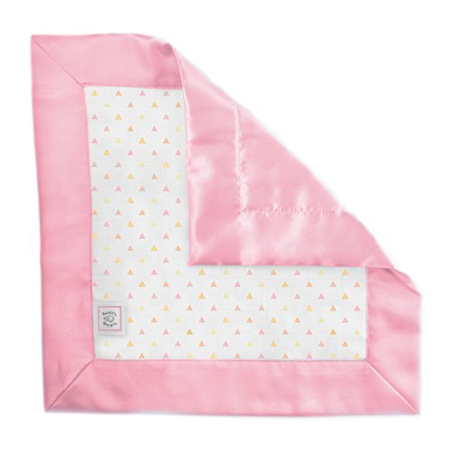 SwaddleDesigns Cotton Muslin Baby Lovie, Small Security Blanket, Tiny Triangles with Satin Trim, Pink