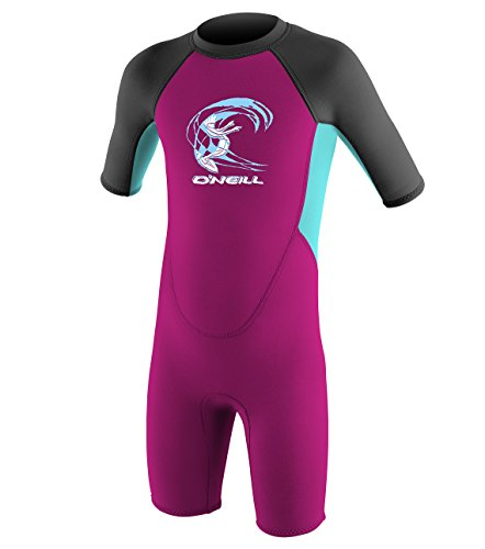 (O'Neill Toddler Reactor-2 2mm Back Zip Short Sleeve Spring Wetsuit, Berry/Aqua/Graphite, 3)