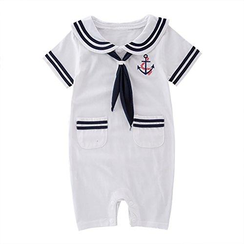 May's Baby Toddler Boys Sailor Stripe Romper Marine Navy Romper Onesie Outfit