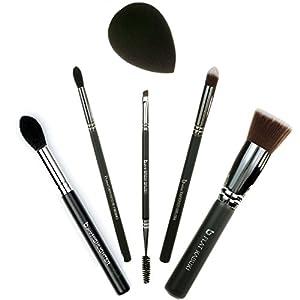 Best of Beauty Junkees 6pc Makeup Brush Set Includes Flat Top Kabuki, mini Tapered, pro Tapered Blending, pro Brow, pro Highlighter, Black Teardrop Makeup Sponge