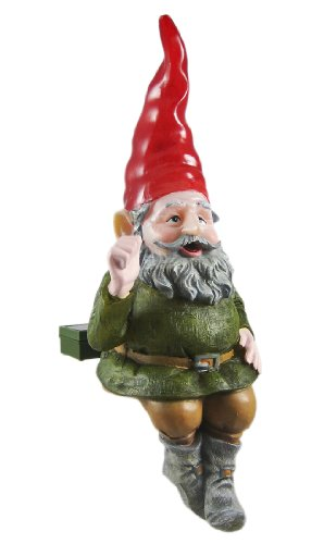 RUMPLE Glowing Gnome Solar Garden Sitter Statue by Homestyles