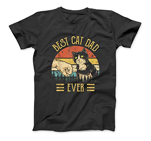 Best Cat Dad Ever Paw Fist Bump Fit Vintage Retro Gift Men T-Shirt Sweatshirt Hoodie Tank Top For Men Women Kids