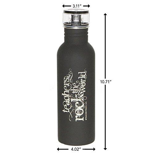 "Teacher Peach ""Teachers Rock the World"" 25 oz BPA Free Stainless Steel Water Bottle, Flip Top Metal Design, Perfect Gift Idea for Teachers"
