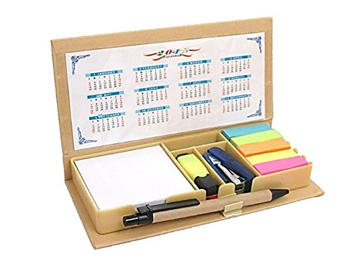 COMBO SCHOOL SUPPLIES BUNDLE PACK! Includes Pen, Notes, Flags, Stapler, Sharpener, Eraser, Mini Highlighter, Clips, and Calendar- Packaged In A Box Neat & Compact! By Mega Stationers