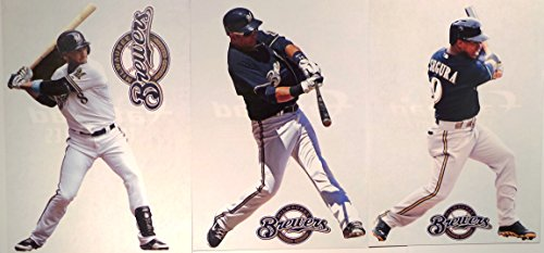 Milwaukee Brewers Mini FATHEAD Team Set 3 Players + 3 Brewers Logo Official MLB Vinyl Wall Graphics - Each Player Graphic 7