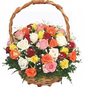 Indian Gift Emporium Lovely Mix Fresh Roses Flower Basket Bunch Of 25