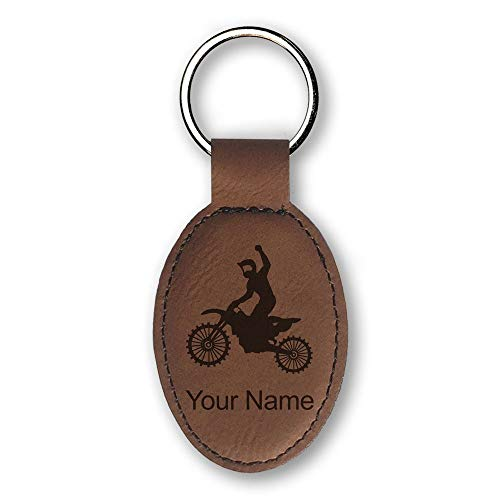 Oval Keychain, Motocross, Personalized Engraving Included (Dark Brown) ()