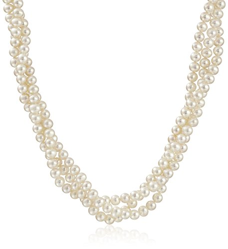 Cultured Pearl Twisted Necklace (14k Yellow Gold 5-5.5mm White Cultured Freshwater Twisted 3-Rows Pearl Strand, 18
