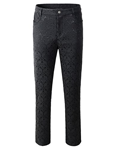 DarcChic Mens Trousers Pants Brocade VTG Gothic Aristocrat Steampunk (M, Black)