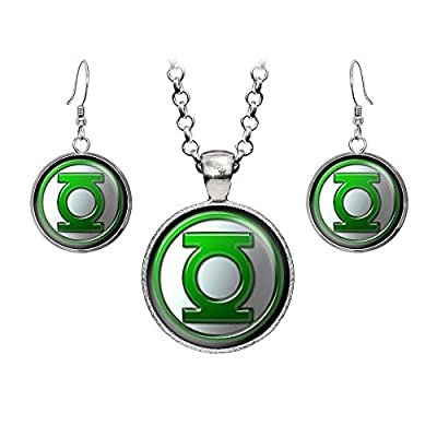 Top Green Lantern Necklace, Justice League Pendant, Superman vs Batman Earrings, Suicide Squad Gift, Green Lantern Corps, DC Comics Jewelry, Wedding Party, Geek Geeky Gifts Nerd Nerdy Presents for cheap