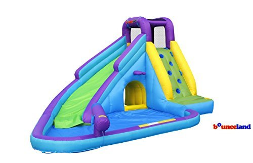 Inflatable Bounce Deluxe Outdoor size 13'x10'x7.5'H blower Heavy-duty Long fill tube 6.5' Inflates in minutes age 3-10 Maximum weight 100 lb Maximum individual weight 100 lb Max individual height 5ft