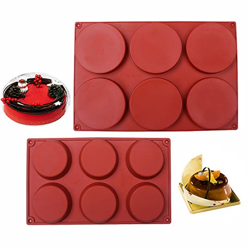 BAKER DEPOT 6 Cavity Large Round Disc Candy Silicone Molds Pastry Bakeware for Baking Soap Making Epoxy Resin Crafting Projects Two Different Sizes, Set of 2