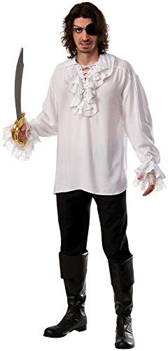 Medieval Shirt Adult Costumes (Rubie's Costume Co pirate shirt with lace-up ruffled neckline, White, X-Large)