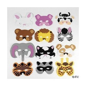 Fun Express Assortment Kids Foam Animal Face Masks Zoo Farm Party Costume (2-Pack of 12) -