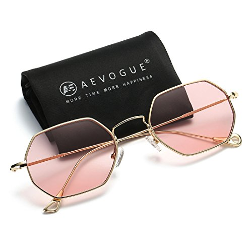 AEVOGUE Unisex Sunglasses Small Metal Frame Asymmetry Temple AE0520 (Gold&Pink, 56) (Square Sunglasses)