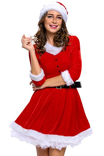 Eternatastic Women's Mrs Santa Christmas Costumes Velvet Babydoll Dress (Mrs Claus Plus)