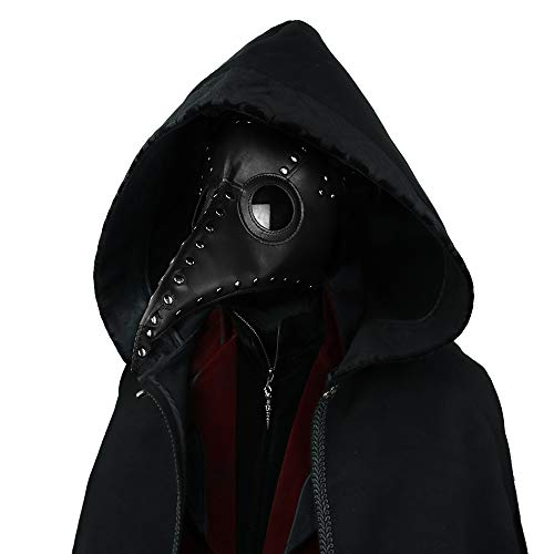 Black Mask Gothic Plague Doctor Bird Mask for Men Black PU Leather Long Nose Beak Halloween Cosplay Costume Party Retro Masks