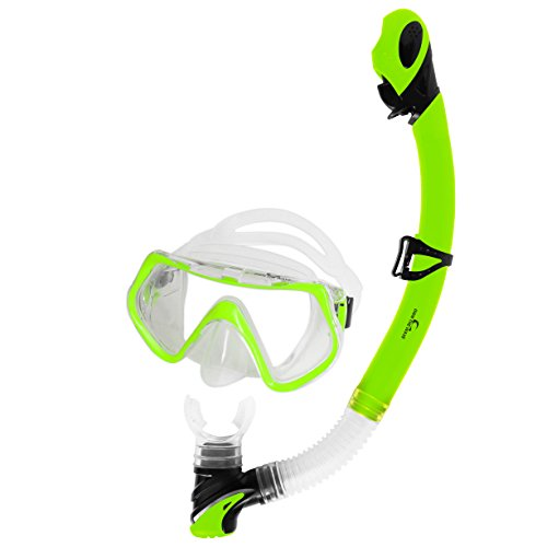 (Own the Wave Snorkeling Gear - Shatterproof Glass Anti-Leak Silicone Skirt Adjustable Strap Diving Mask w/Dry Top and Purge Valve Snorkel Tube - Free Diving Mask and Snorkel Tube Set (Yellow Green))