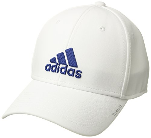 adidas Men's Gameday Stretch Fit Structured Cap, White/Collegiate Royal, Small/Medium