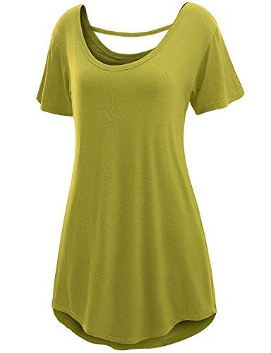 Doublju Womens Basic Comfy Short Sleeve Oversized Long Tunic Top LIGHTGREEN 3XL