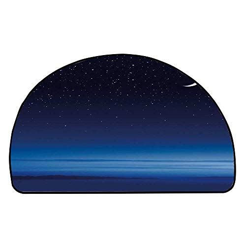 C COABALLA Night Comfortable Semicircle Mat,Moon and Stars Over Santa Barbara Channel Infinity Foggy Pacific Ocean Decorative for Living Room,23.6