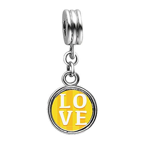 Fervent Love Valentines Alphabet Words L O V E Flower Dangle European charm beads