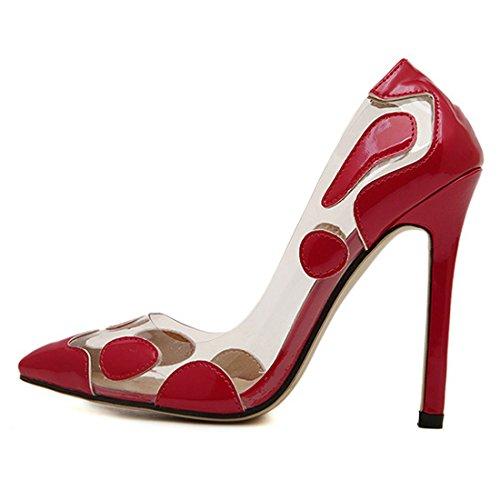 Oasap Women Woman Crystal Clear Pointed Toe Stiletto High Heels, EURO37/US6/UK4 Golden