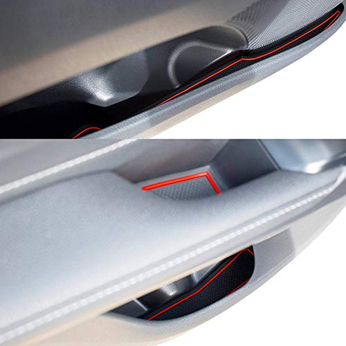 Red Trim Custom Fit Cup Holder and Door Liner Accessories for 2018 2019 2020 Toyota Camry 16-pc Set