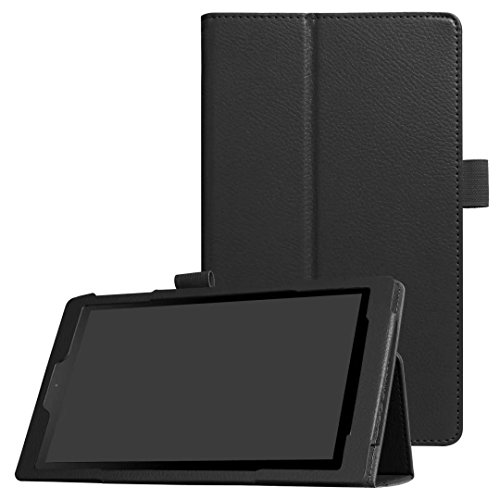 MoreToys Amazon Fire HD 8 Case, Ultra Slim Leather Auto Wake / Sleep Folding Stand Protective Cover (Previous 7th Generation - 2017 Release ONLY) (Black)